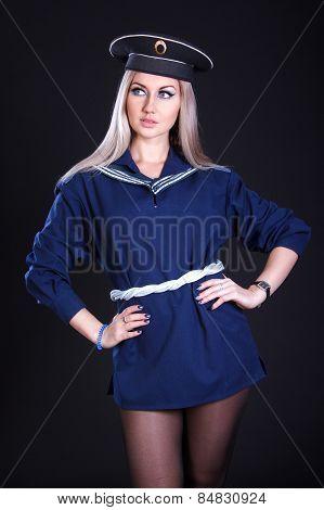Beautiful Young Woman In A Marine Uniform