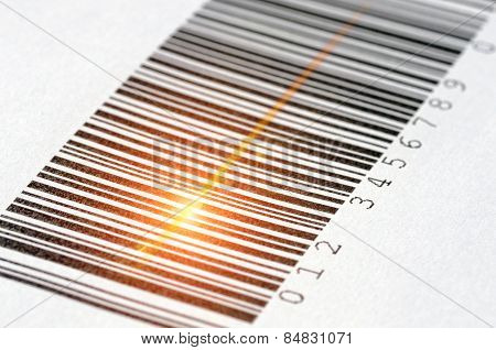 Laser Barcode Reader Scanning A Bar Code