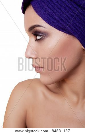 Beauty Portrait Of Young Mulatto Fresh Fashion Woman In Profile