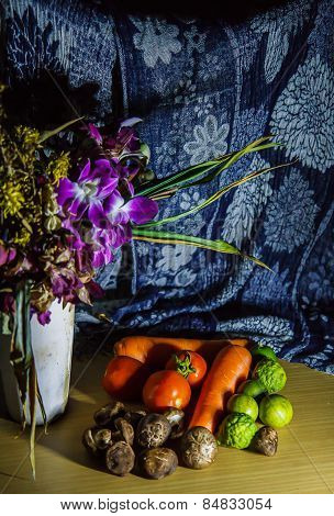 Flowers And Fruits Still Life