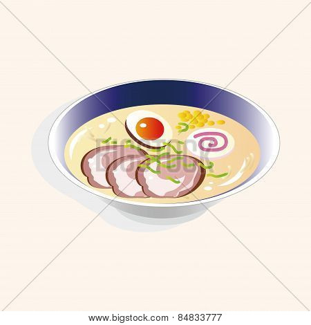 Japanese Food Theme Ramen Noodles Elements Vector,eps