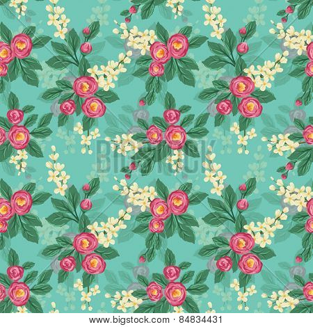 Floral seamless pattern with pink roses and small white flowers