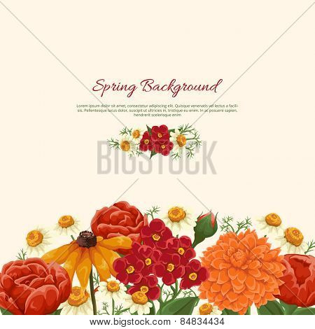 Floral background with roses, chamomiles and other flowers