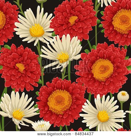 Floral seamless patterns with chamomile and big red flowers