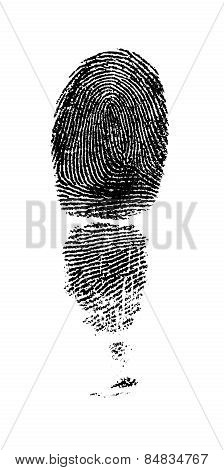 Black Finger Print. Isolated On White Background.