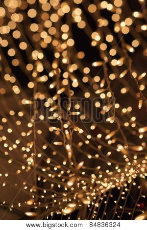 Natural bokeh. Photo of holidays lights blurred, small DOF