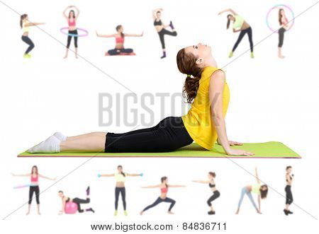 Women doing exercises, yoga isolated on white, different poses in collage