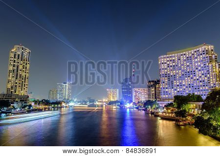 Chao Phraya River Night Scene