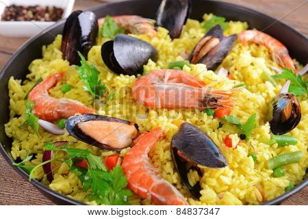 Seafood Paella in pan close-up