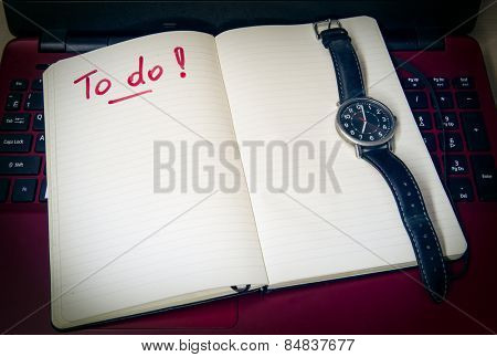 To do list and watches. Toned photo