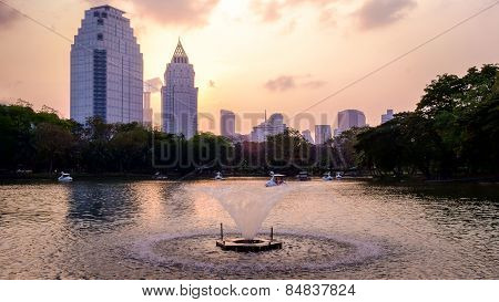 Night Scene Of Bangkok Skyline At Dusk