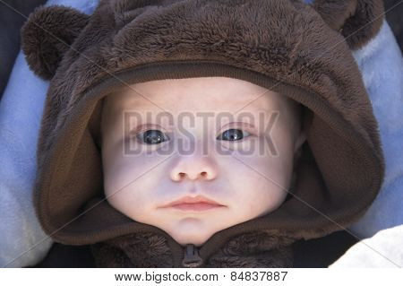 Baby boy in a bear suit