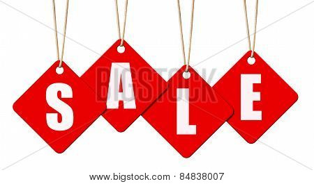 Hanging Sale Letter Tags Isolated On White With Clipping Path.