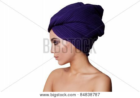 Beautiful african young woman looking outside the picture. Isolated over white background