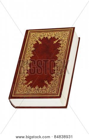 Old leather bound decorative book isolated on a white background