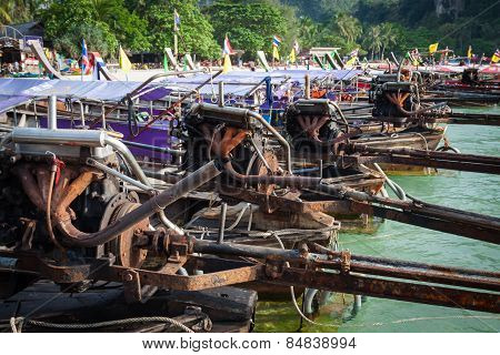 Krabi,thailand,december 11,2013:traditional Thai Boat, Long Tail Stand In The Sea At Railay Beach, K