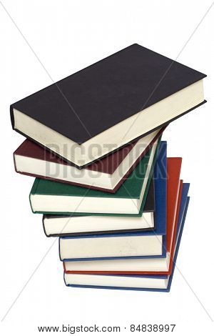 Old colorful book stack isolated on a white background