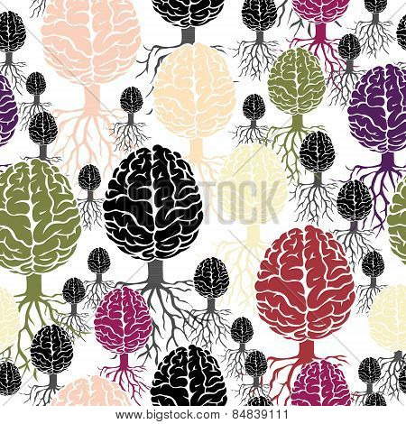 Brain with roots vector seamless abstract backdrop