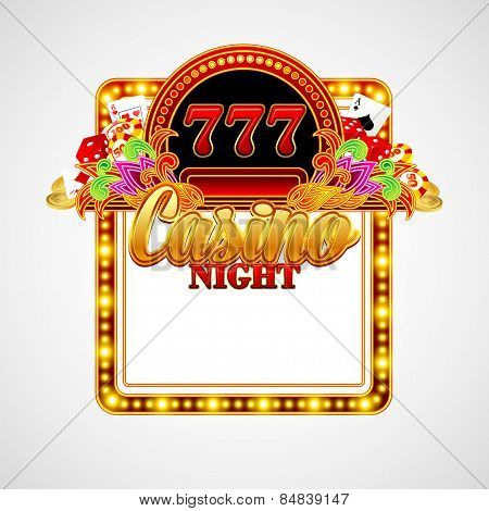 Casino background with cards, chips, craps. Vector illustration