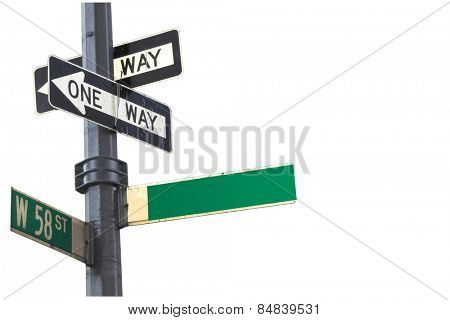 Blank sign on 58th street New York isolated against white