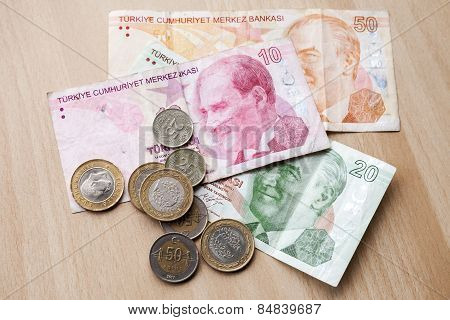 Different Banknotes And Coins. Turkish Money