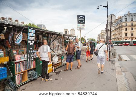 Art And Souvenir Shops With Walking People, Paris, France