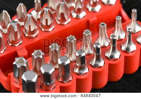 Set Of Steel Screwdrivers With Tools