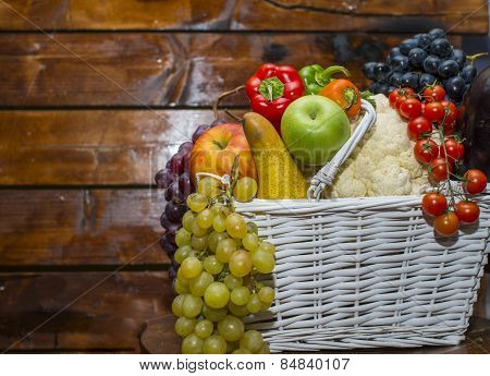Basket Filled With Fruits And Vegetables