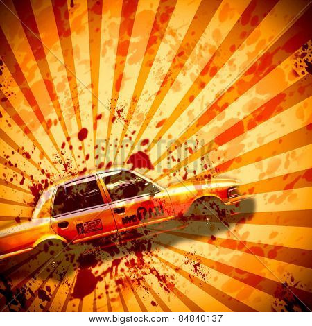 Grungy blood splatter background graphic with New York cab representing car crash concept