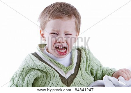 Young boy having a fit of anger portrait