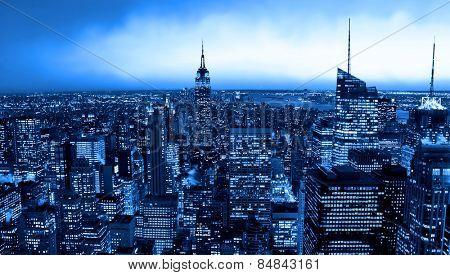 New York City skyline with a blue hue