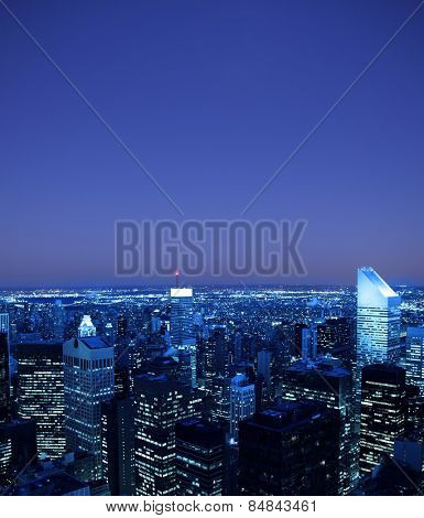 New York City skyline with blue hue