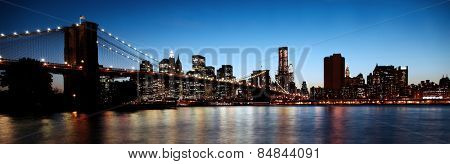 Historic Brooklyn Bridge in New York in high contrast color