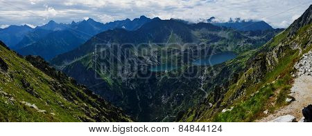 View From The Pass Krzy?ne At Five Lakes Valley In Polish Polish Tatras