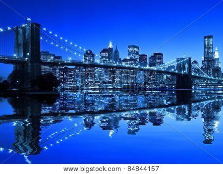 Brooklyn Bridge in New York with a blue hue