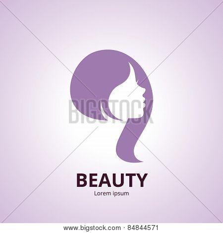 Sign Of A Woman's Face Vector Logo Template