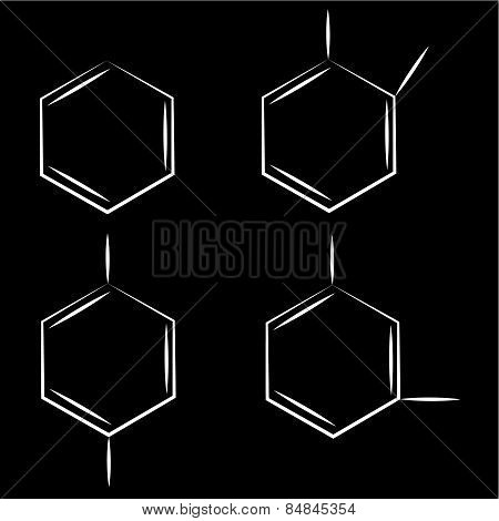 Molecule benzene ortho meta couple standing black background