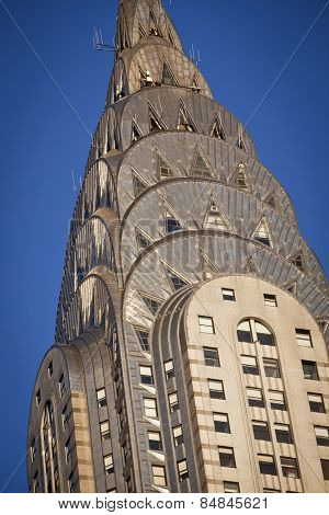 NEW YORK - DEC 28: Chrysler building facade closeup, was the world's tallest building (319 m) before it was surpassed by the Empire State Building in 1931, on December 28, 2011 in Manhattan, New York.