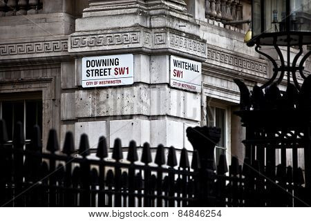 LONDON, ENGLAND FEB 17: Downing Street is the official office of the British Prime minister on Feb 17, 2012 in London, United Kingdom.