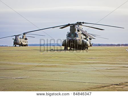 Chinook helicopter on a military airbase