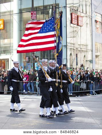 NEW YORK, NY, USA - MAR 17: Unites States Navy Sailors at the St. Patrick's Day Parade on March 17, 2012 in New York City, United States.