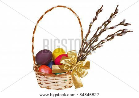 Easter Palm Catkins And Basket With Easter Eggs Isolated On White Background
