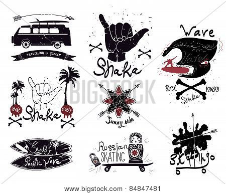 Set of vintage surfing and skateboarding. Logo and design elements