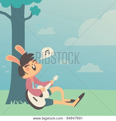 Bunny Girl Singing under a Tree