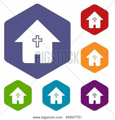 Protestant church rhombus icons