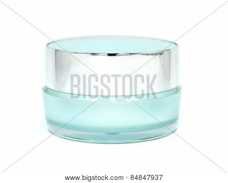 Blue Facial Cream Jar. Beauty Concept