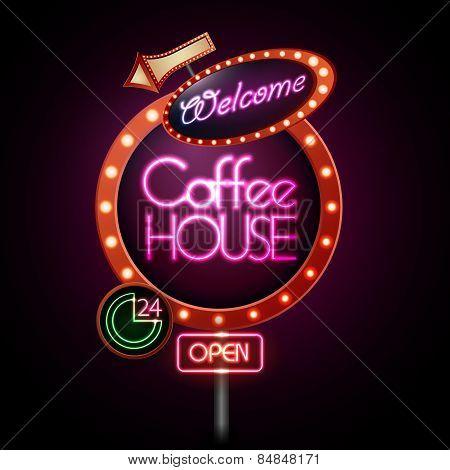 Neon Sign. Coffee House