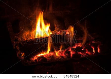 Hot fireplace embers