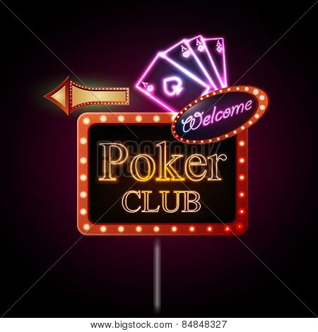 Neon Sign. Poker Club