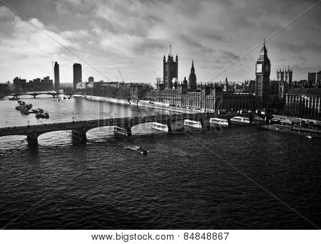Black and white London panorama over the river Thames
